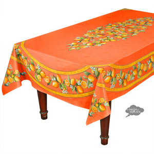 "60x 96"" Rectangular Lemons Orange Acrylic Coated Cotton Tablecloth by Tissus Toselli"