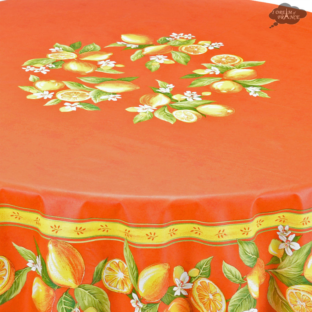 "70"" Round Lemons Orange Acrylic Coated Cotton Tablecloth by Tissus Toselli - Close Up"