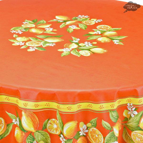 "70"" Round Lemons Orange Acrylic Coated Cotton Tablecloth by Tissus Toselli"