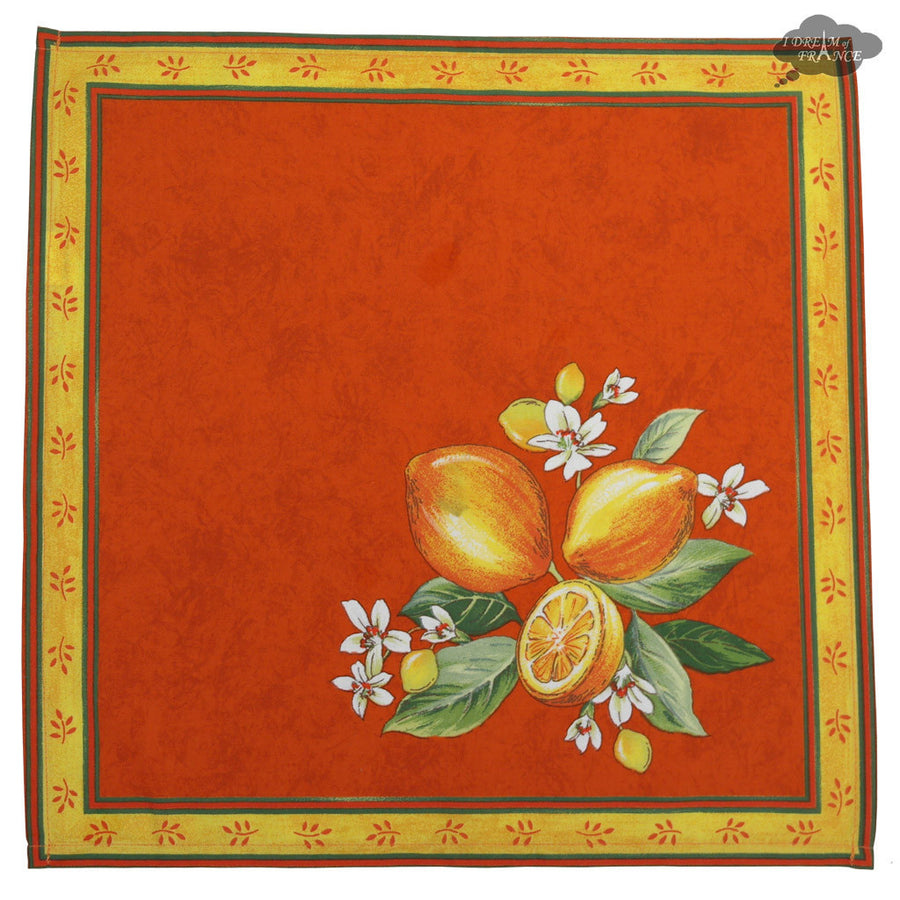 Lemons Orange Provence Cotton Napkin by Tissus Toselli