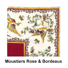 "64x112"" Moustiers Rose & Bordeaux Luxe Tablecloth by Tissus Toselli"