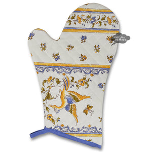 Moustiers Blue & Cream Cotton Oven Mitt by Tissus Toselli