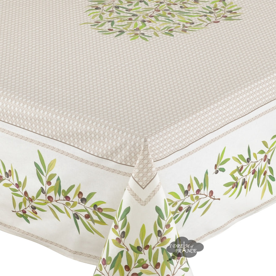 "60x96"" Rectangular Nyons Cream Acrylic Coated Cotton Tablecloth by Tissus Toselli"