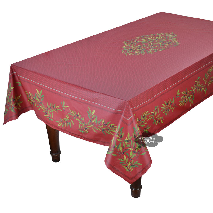 "60"" Square Nyons Red Acrylic Coated Cotton Tablecloth by Tissus Toselli"