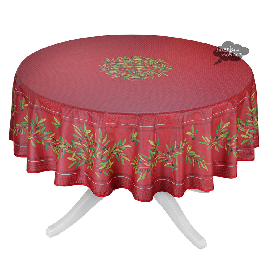 "70"" Round Nyons Red Coated Cotton Tablecloth by Tissus Toselli"