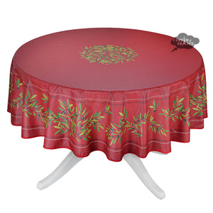 "90"" Round Nyons Red Coated Cotton Tablecloth by Tissus Toselli"
