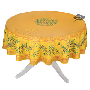 "90"" Round Nyons Yellow & Red Coated Cotton Tablecloth by Tissus Toselli"