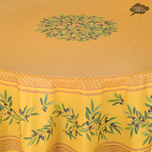 "70"" Round Nyons Yellow & Red Coated Cotton Tablecloth by Tissus Toselli"