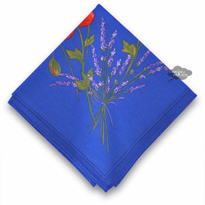 Poppies Blue Provence Cotton Napkin by Tissus Toselli