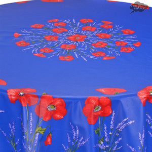 "70"" Round Poppies Blue Coated Cotton Tablecloth by Tissus Toselli - Close Up"