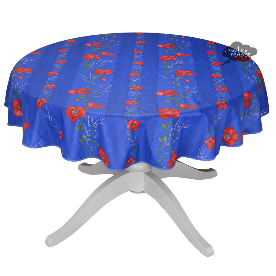 "58"" Round Poppies Blue Acrylic Coated Cotton Tablecloth by Tissus Toselli"
