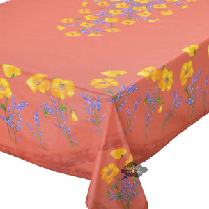 "60x96"" Rectangular Poppies Coral Red Acrylic Coated Cotton Tablecloth by Tissus Toselli"