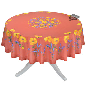 "70"" Round Poppies Coral Red Acrylic Coated Cotton Tablecloth by Tissus Toselli"