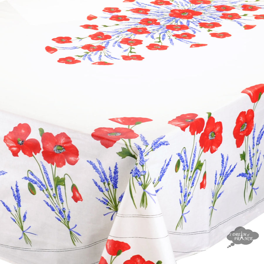 "60x 96"" Rectangular Poppies Cream Coated Cotton Tablecloth by Tissus Toselli"