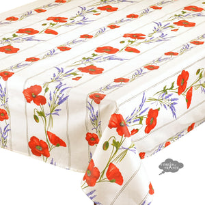 "60x78"" Rectangular Poppies Cream Acrylic Coated Cotton Tablecloth Close Up"