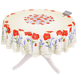 "70"" Round Poppies Cream Coated Cotton Tablecloth by Tissus Toselli"