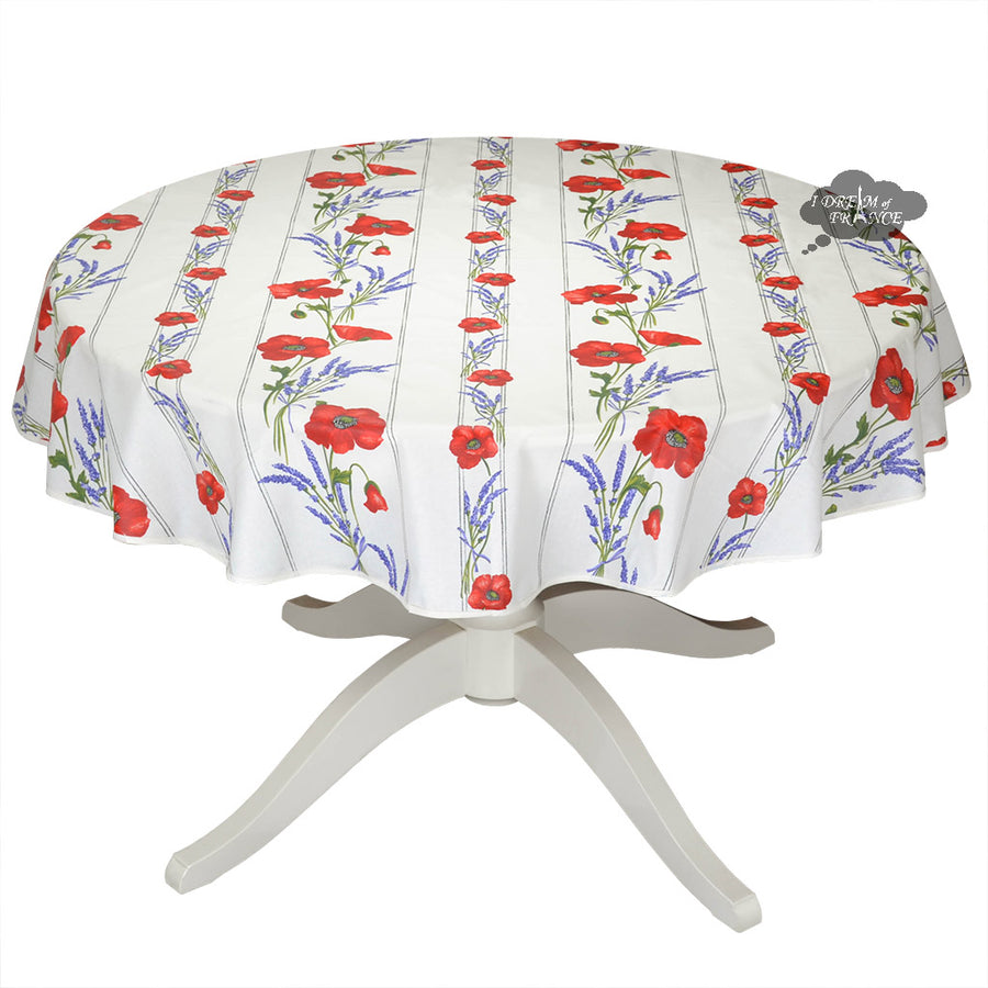 "58"" Round Poppies Cream Acrylic Coated Cotton Tablecloth by Tissus Toselli"