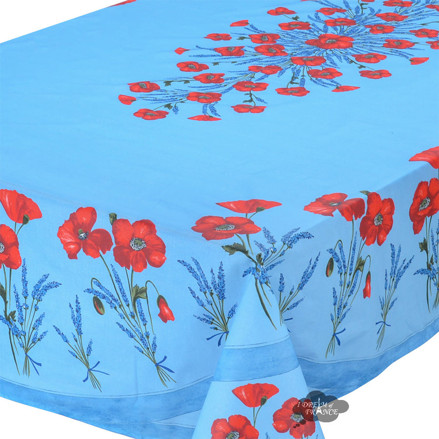 "60x96"" Rectangular Poppies Sky Blue Coated Cotton Tablecloth by Tissus Toselli"