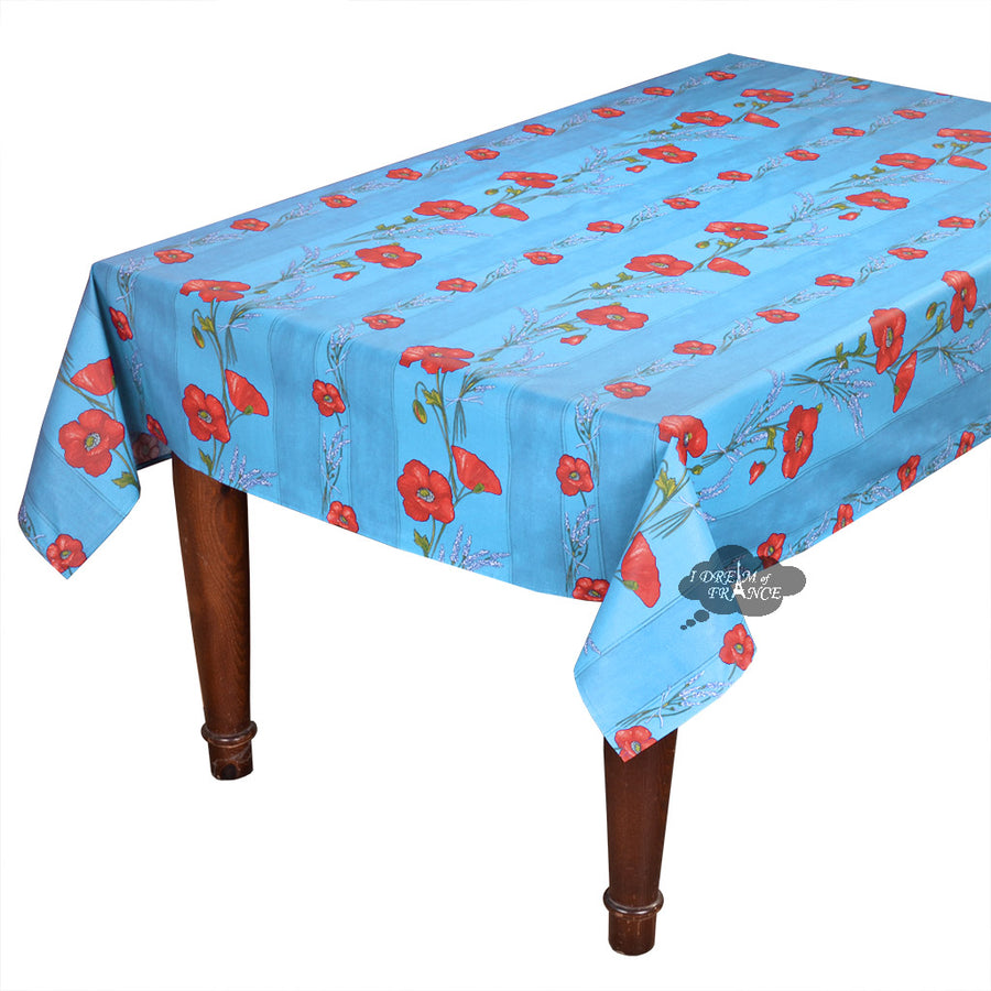 "60x78"" Rectangular Poppies Sky Blue Coated Cotton Tablecloth by Tissus Toselli"