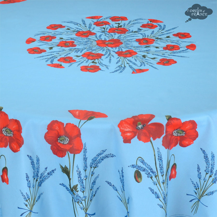 "90"" Round Poppies Sky Blue Coated Cotton Tablecloth by Tissus Toselli"