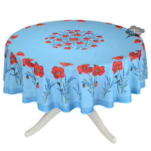 "70"" Round Poppies Sky Blue Coated Cotton Tablecloth by Tissus Toselli"