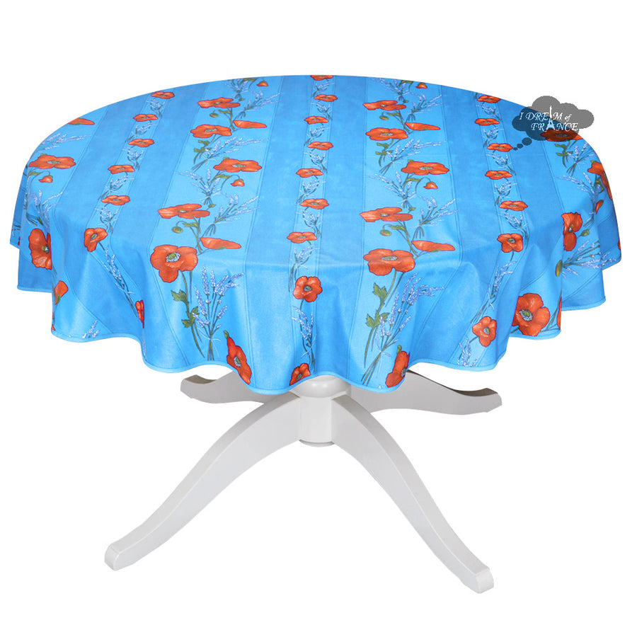"58"" Round Poppies Sky Blue Acrylic Coated Cotton Tablecloth by Tissus Toselli"