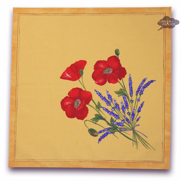Poppies Yellow Provence Cotton Napkin by Tissus Toselli