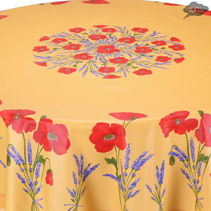 "90"" Round Poppies Yellow Acrylic Coated Cotton Tablecloth by Tissus Toselli"
