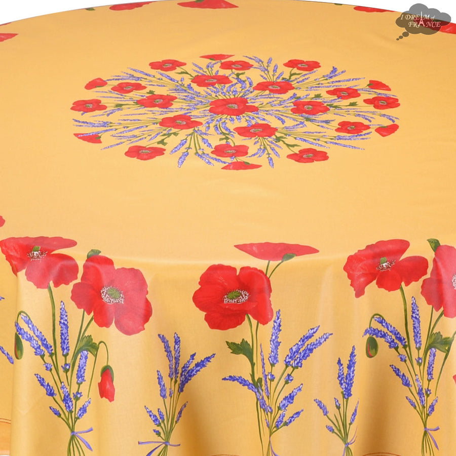 "70"" Round Poppies Yellow Acrylic Coated Cotton Tablecloth by Tissus Toselli"