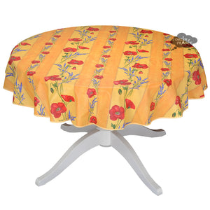 "58"" Round Poppies Yellow Acrylic Coated Cotton Tablecloth by Tissus Toselli"