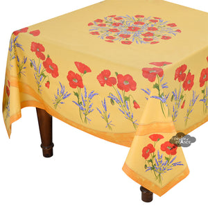 "70"" Square Poppies Yellow Coated Cotton Tablecloth by Tissus Toselli"