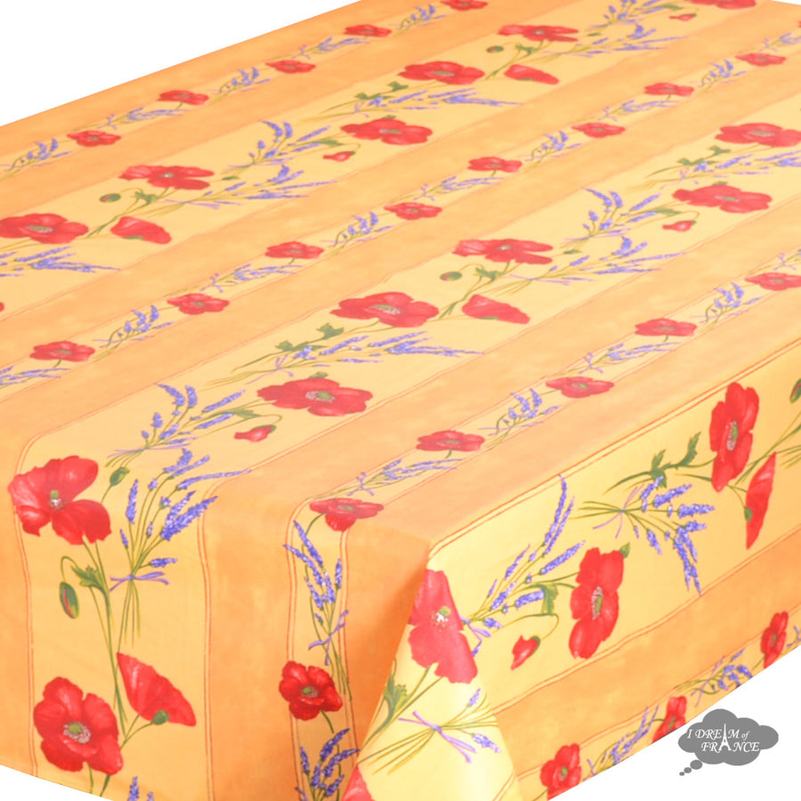 "60x120"" Rectangular Poppies Yellow Acrylic Coated Cotton Tablecloth by Tissus Toselli"