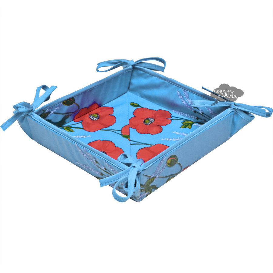 Poppies Sky Blue Acrylic Coated Bread Basket by Tissus Toselli