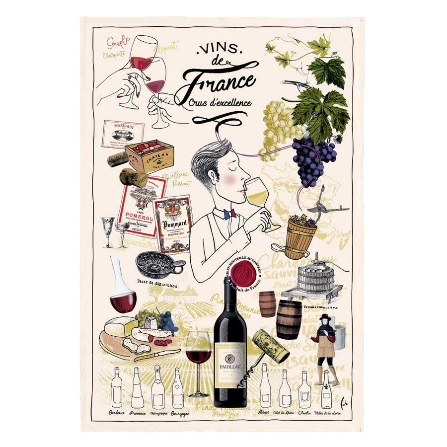 French Crus d'Excellence Tea Towel by Torchons et Bouchons