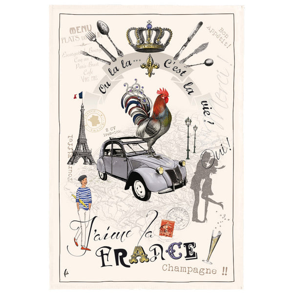 France Panorama Tea Towel by Torchons et Bouchons