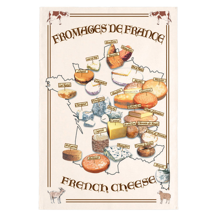 French Cheese Tea Towel by Torchons et Bouchons