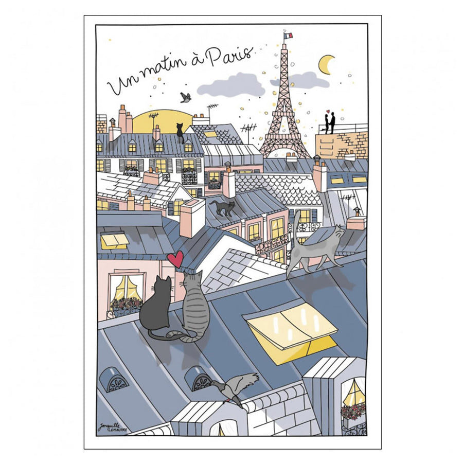 Roofs of Paris Cotton Tea Towel by Winkler Torchons et Bouchons