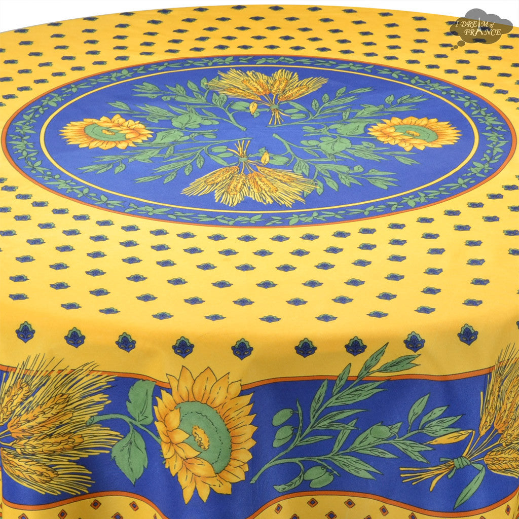 Great ... Tournesol Blue/Yellow French Provencal Tablecloth   Round