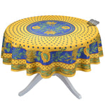 """Tournesol Blue/Yellow French Provencal Polyester Tablecloth - 70"""" Round"""