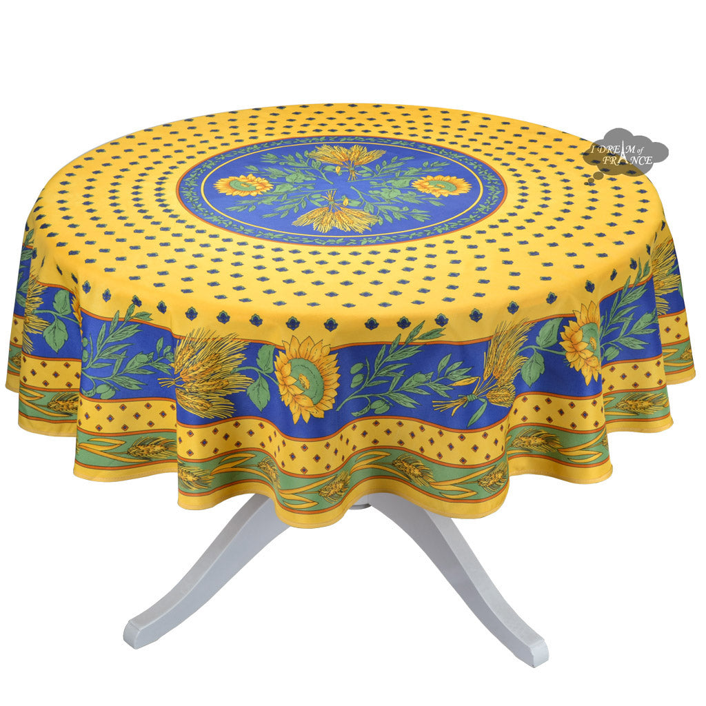 Genial Tournesol Blue/Yellow French Provencal Tablecloth   Round