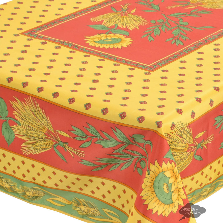 "Tournesol Red/Yellow French Provencal Tablecloth - 59x90"" Rectangular"