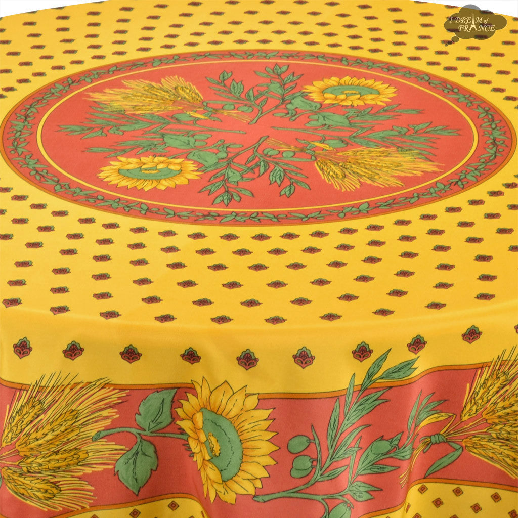... Tournesol Red/Yellow French Provencal Tablecloth   Round