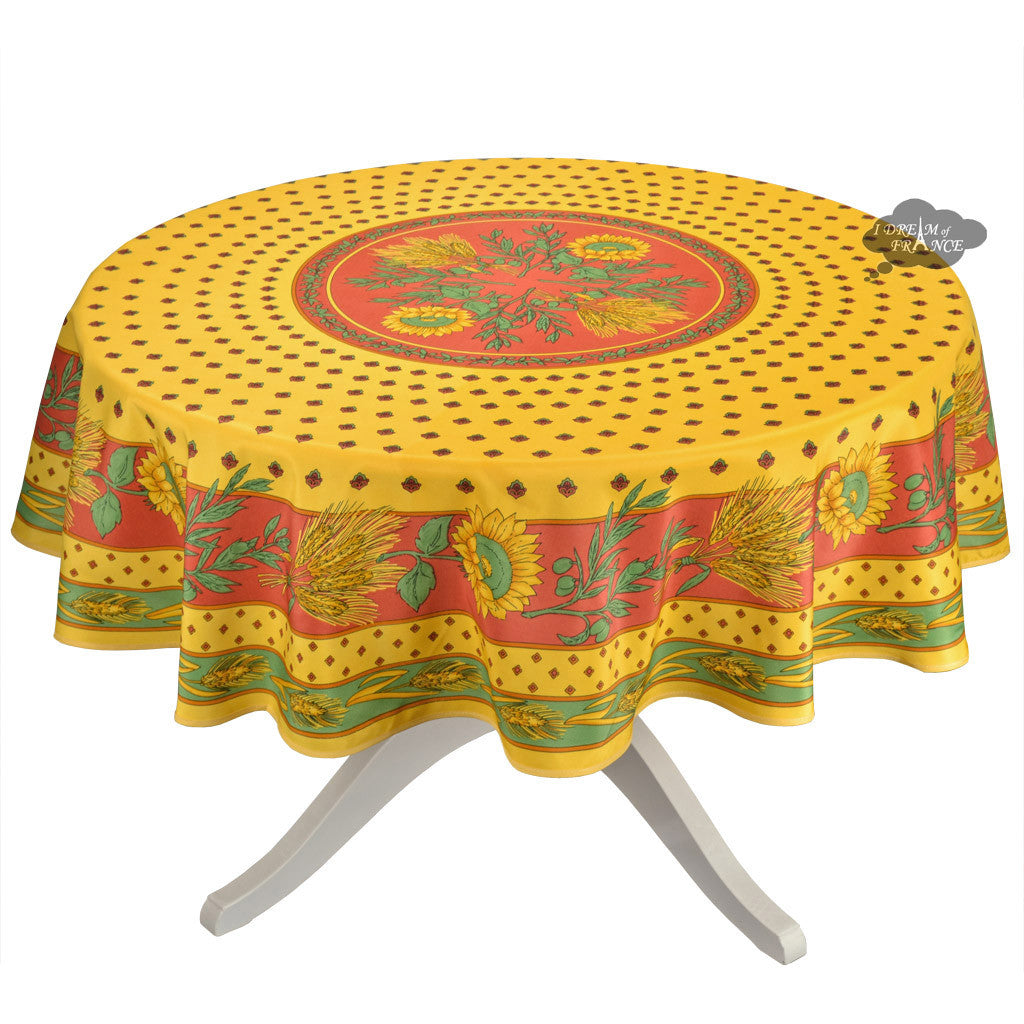 Tournesol Red/Yellow French Provencal Tablecloth   Round ...