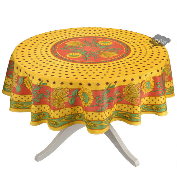 Tournesol Red Yellow French Provencal Tablecloth Round