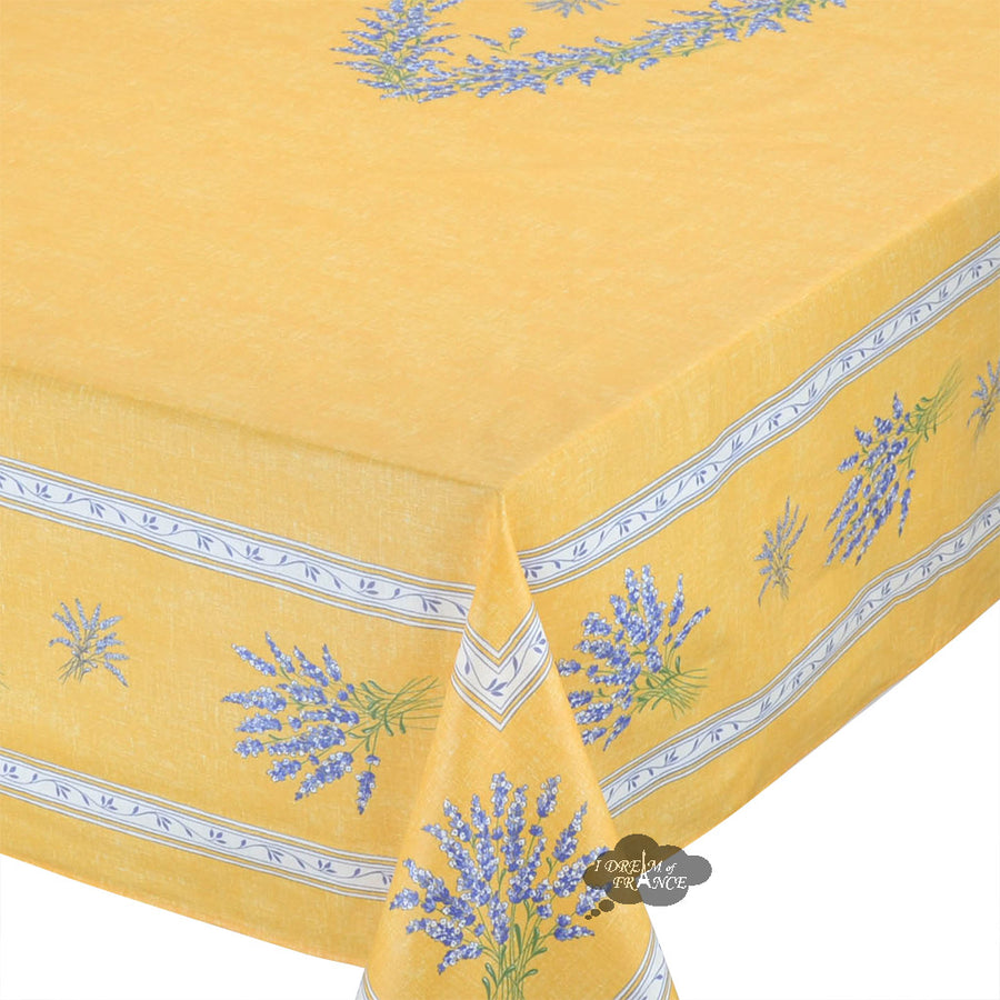 "60x 96"" Rectangular Valensole Yellow Coated Cotton Tablecloth by l'Ensoleillade"