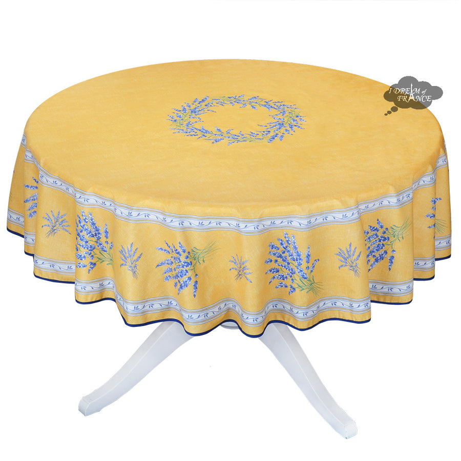 "70"" Round Valensole Yellow Coated Cotton Tablecloth by L'Ensoleillade"