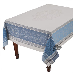 "62x138"" Rectangular Versailles Gray & Blue French Jacquard Tablecloth by Tissus Toselli"