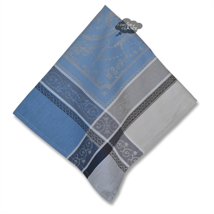 Versailles Gray & Blue French Cotton Jacquard Napkin