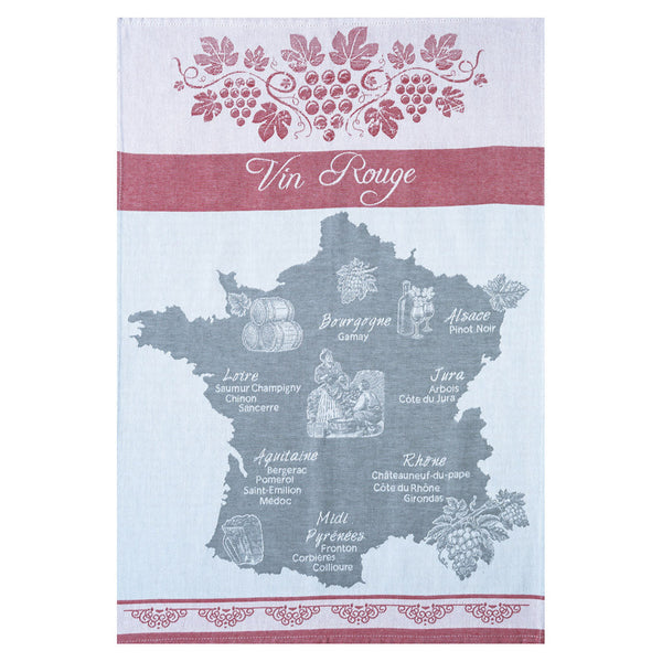 Coucke Vin Rouge (Red Wine) French Jacquard Dish Towel