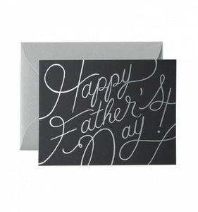 Happy Fathers Day Black Silver Card